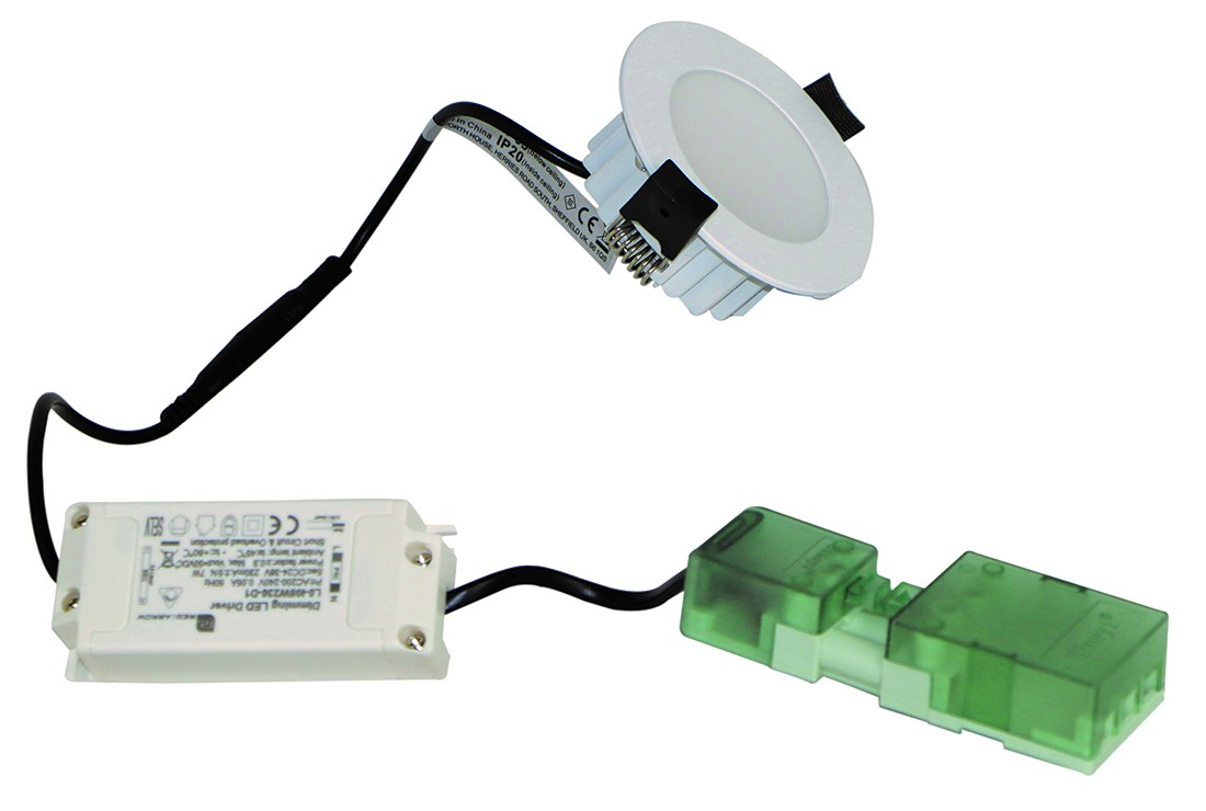 F/Rated 8W Downlight Flush Diffuser IP65 White Dimming 5000K