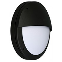 Diecast LED Bulkhead 18w Round Eyelid Black/Opal Emerg 4000K