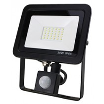30W SMD AC Floodlight PIR - 6000k - Black