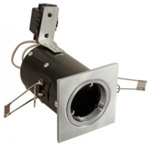 Fire Rated Downlight Square GU10 Fixed - S/Chrome - Diecast