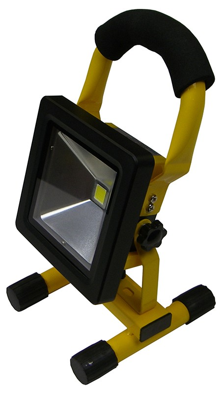 LED Flood Rechargeable 10W 6500K Yellow Fixture & Black Lamp