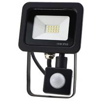 10W SMD AC Floodlight PIR - 6000k - Black