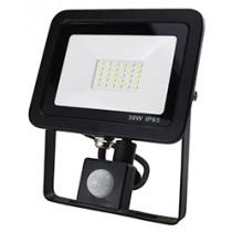 30W SMD AC Floodlight PIR - 6000k - Black