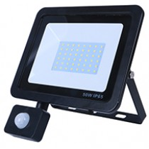 50W SMD AC Floodlight PIR - 6000k - Black