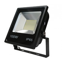 100w SMD LED Floodlight - Black 6500k w/Photocell
