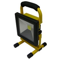 LED Flood Rechargeable 20W 6500K Yellow Fixture & Black Lamp