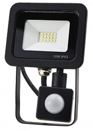 10W SMD AC Floodlight PIR - 6000k - Black