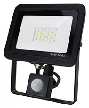 20W SMD AC Floodlight PIR - 6000k - Black
